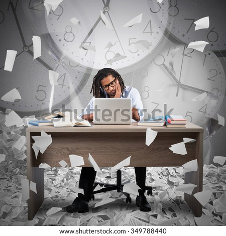 Businessman with bored expression and clock background - stock photo