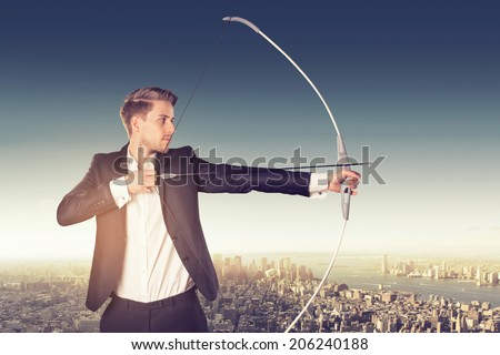 Businessman with bow - stock photo
