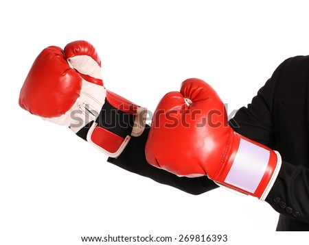 Businessman with boxing gloves isolated