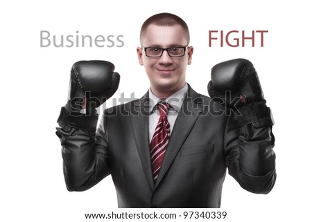 businessman with boxing gloves isolated on white background - stock photo