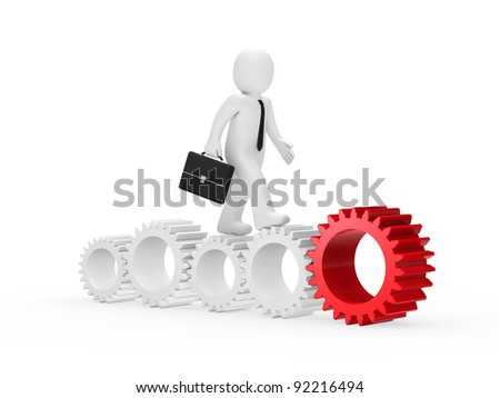 businessman with briefcase go on with gear
