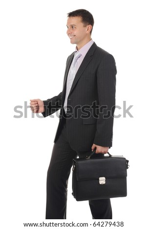 Businessman with briefcase in hand. Isolated on white background