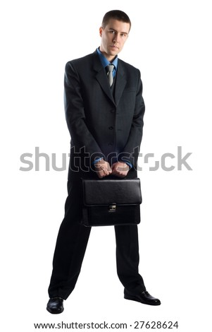 Businessman with briefcase isolated on white
