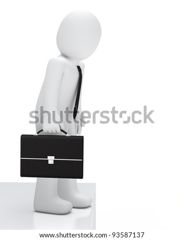 Businessman with briefcase look a canyon down