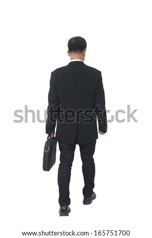 businessman with briefcase over white  - stock photo