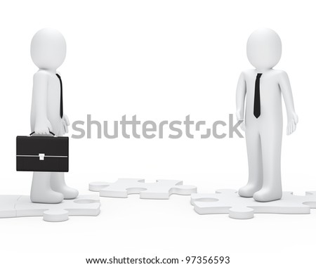 businessman with briefcase shows a jisaw way