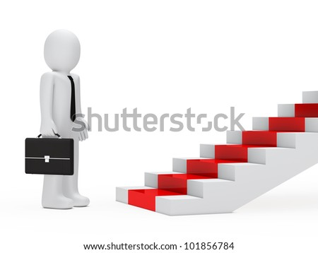 businessman with briefcase stand befor red steps - stock photo