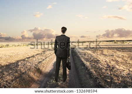 Businessman with briefcase standing on a country road