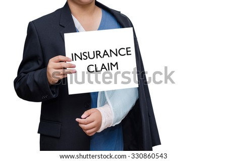 "businessman with broken hand and card with text ""insurance claim"