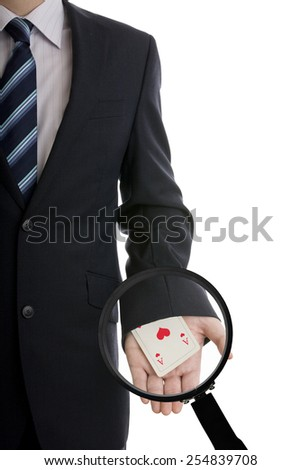 Businessman with card hidden under sleeve isolated on white background - stock photo
