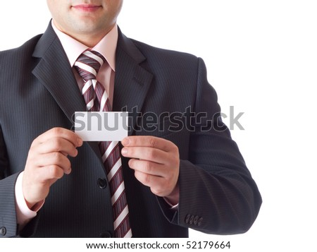 Businessman with card. Isolated on white background