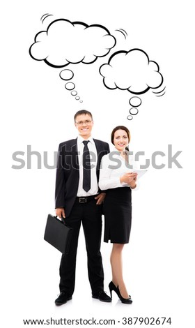 Businessman with case and his female colleague with tablet over isolated background with thinking clouds. - stock photo