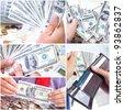 Businessman with cash, money, bills, coins. - stock photo