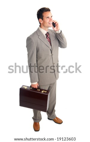businessman with cell phone. Over white background