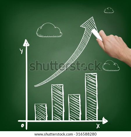 Businessman with chalk in hand draws a graph. Stock image.