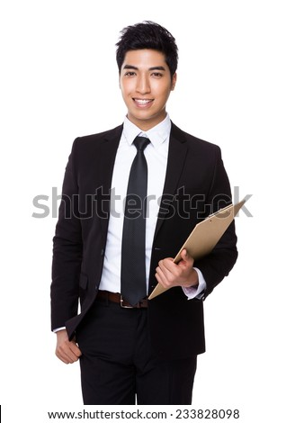 Businessman with clipboard