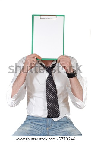 businessman with clipboard in front of face, Business, corporate, advertise concept. - stock photo
