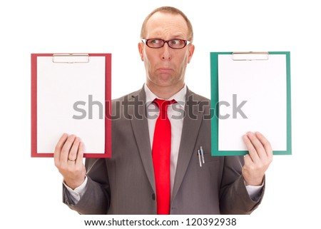 Businessman with clipboards - stock photo