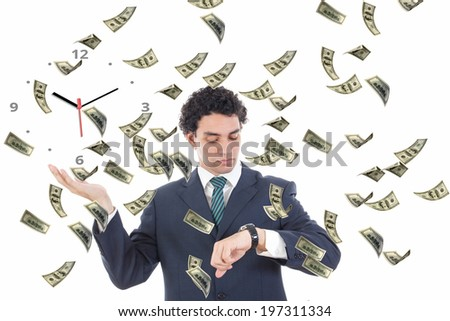 Businessman with clock on his palm concept surrounded by money, Time is money abstract concept, Man catching falling dollars looking at his stopwatch