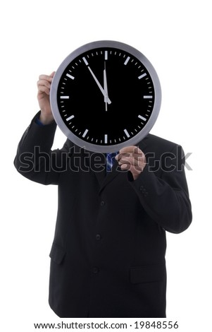 businessman with clock over white background