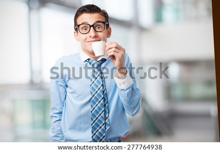 businessman with coffee cup - stock photo