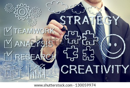 Businessman with concepts of strategy, creativity, teamwork, analysis and research - stock photo