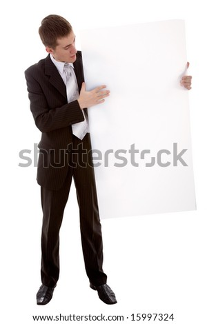 businessman with copy space on background