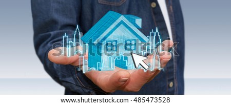 Businessman with digital house and city flying over his hands 3D rendering