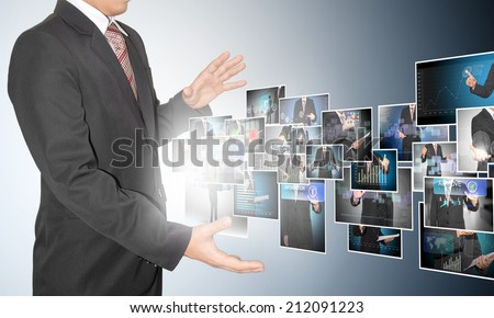 businessman with digital image on future