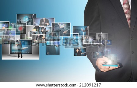 businessman with digital image on smartphone