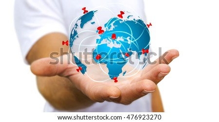 Businessman digital world map pins floating stock photo download businessman with digital world map and pins floating over his hand 3d rendering gumiabroncs Choice Image