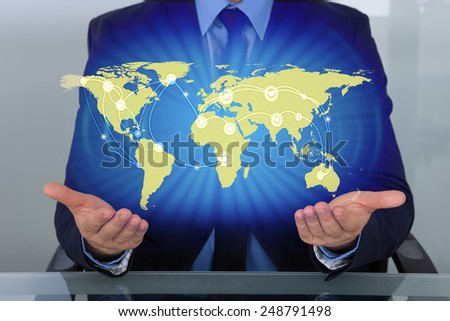 Businessman With Digital World Map Showing Connectivity.  - stock photo