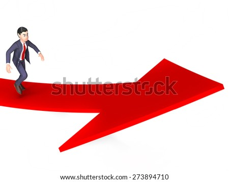 Businessman With Direction Showing Victorious Corporate And Growth - stock photo