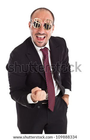 Businessman with dollar-sign glasses standing and cheering