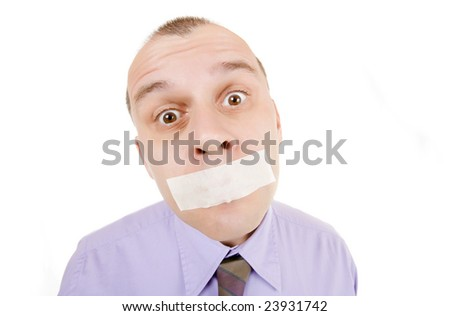 Businessman with duct taped mouth isolated on white background - stock photo