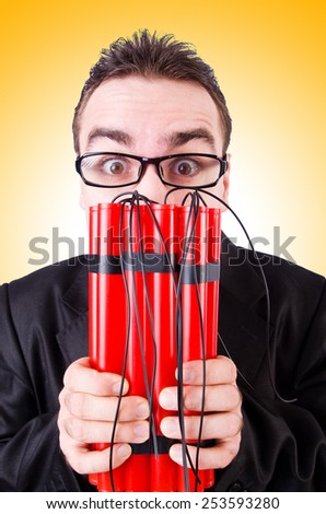 Businessman with dynamite isolated on white - stock photo
