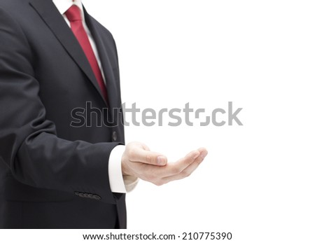 Businessman with empty hand isolated on white - stock photo