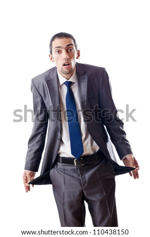 Businessman with empty pockets - stock photo