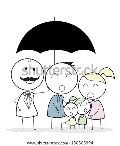 businessman with family - stock photo