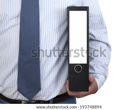 Businessman with file folders - stock photo