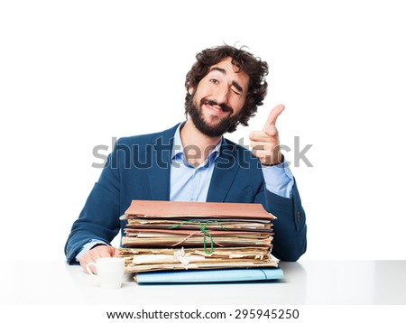 businessman with files okay concept - stock photo