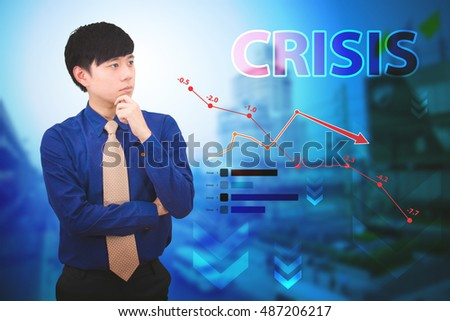 Businessman with financial symbols crisis
