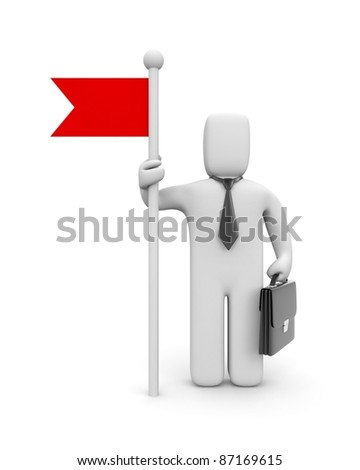 Businessman with flag - stock photo