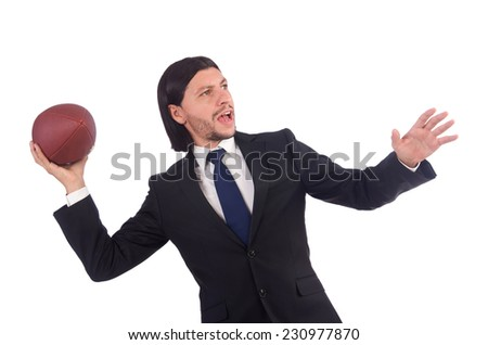 Businessman with football isolated on white - stock photo