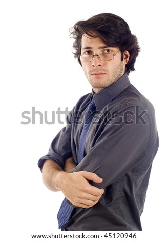 Businessman with glasses arms crossed isolated over white background