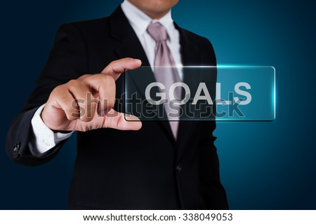 Businessman with goals text label.