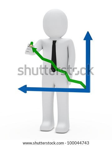 businessman with green pencil arrow graph up
