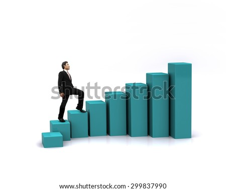 Businessman with growth chart of profits.