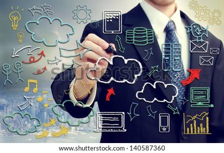 Businessman with hand written cloud computing themed texts and pictures