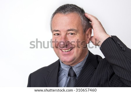 Businessman with hands - stock photo